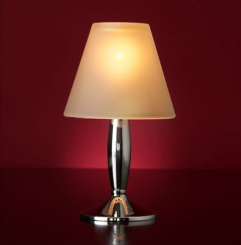 Bella Silver Lamp Stand With Frosted Glass Shade