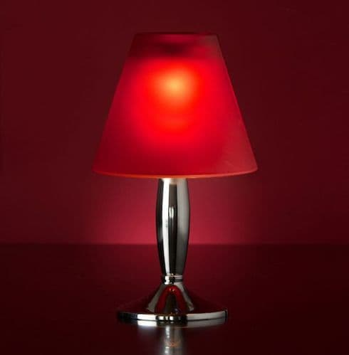 Bella Silver Lamp Stand With Red Glass Shade
