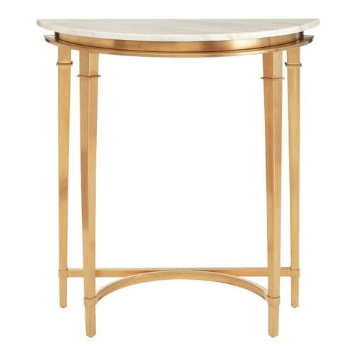 Celine White Marble & Gold Half Moon Console Table