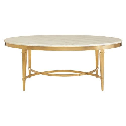 Celine White Marble & Gold Oval Coffee Table