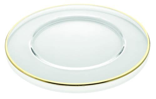 Deluxe Gold Band Round Clear Glass Charger Plate  - 32cm