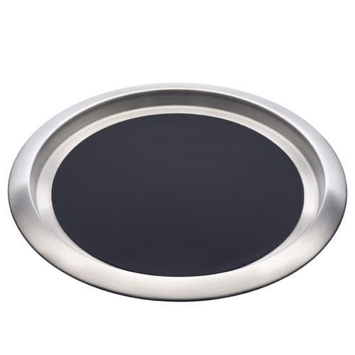 Deluxe Round Stainless Steel Bar Tray - 35cm