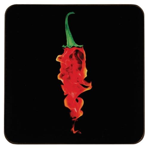 Flaming Chillie Coasters- Set of 4