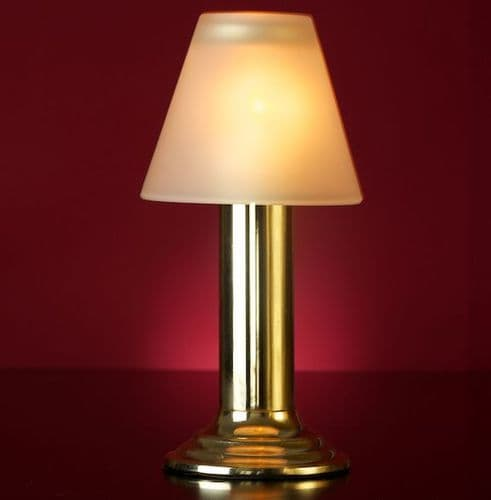 Gold Lamp Stand With Frosted Glass Shade