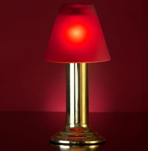 Gold Lamp Stand With Red Glass Shade