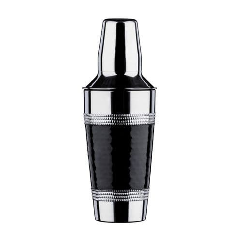 Hammered Black Band Stainless Steel Cocktail Shaker