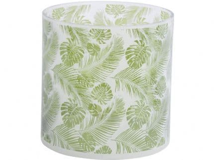 Hurricane Lamp with Green & White Leaf Decoration