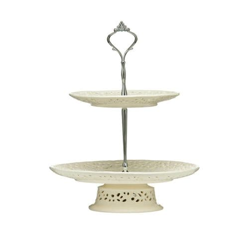 Lace Ceramic 2 Tier Cake Stand