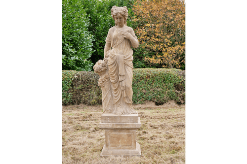 Lady Aquila Stone Sculpture With Flowers