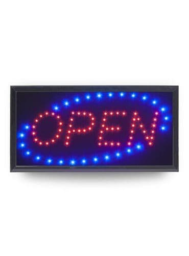 LED OPEN Sign – Red & Blue Flashing Lights