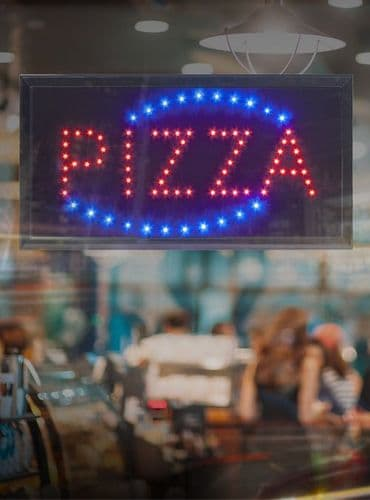LED PIZZA sign – Red & Blue Flashing Lights