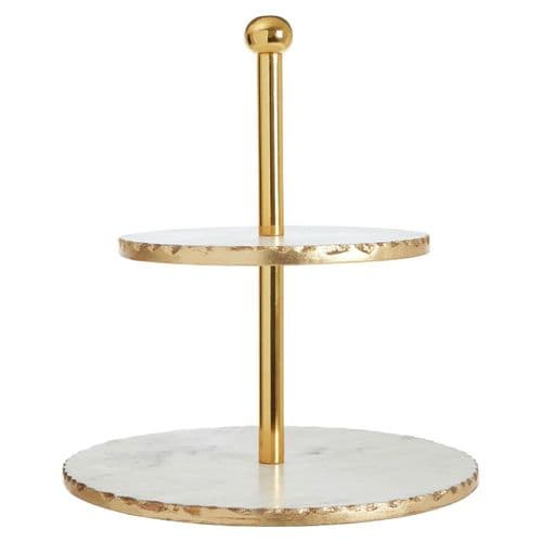 Marble Gold Trim 2 Tier Cake Stand