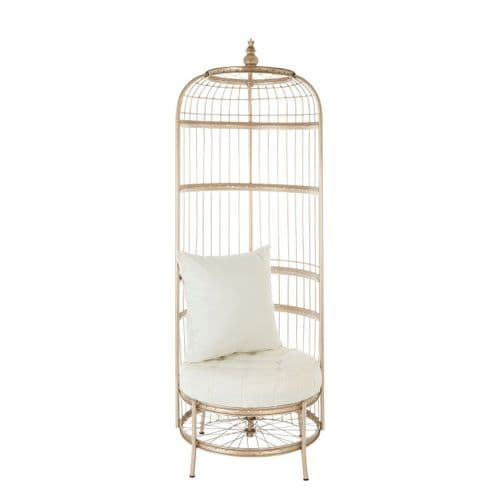 Melrose Champagne Gold Bicycle Cage Chair