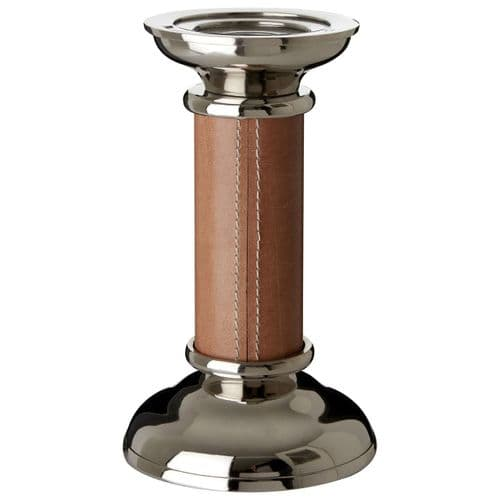 Nickel Finish Brown Leather Candlestick - Small