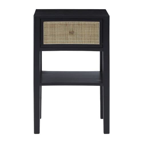 Nordic Black Wood & Rattan Side Table