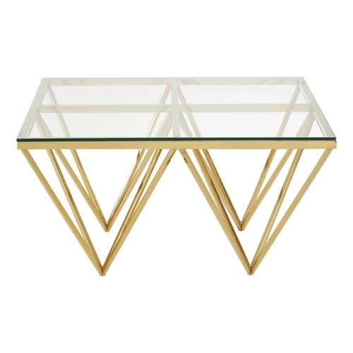 Ovation Square Gold & Clear Glass Coffee Table
