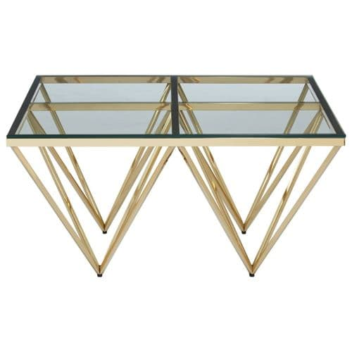 Ovation Square Gold & Tinted Glass Coffee Table