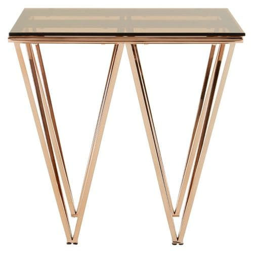Ovation Square Rose Gold & Tinted Glass Side Table