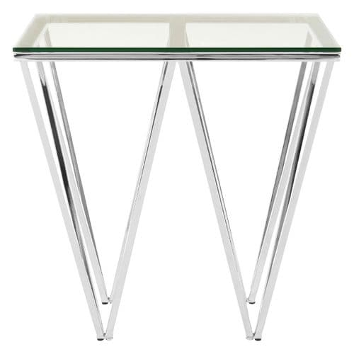 Ovation Square Silver & Clear Glass Side Table