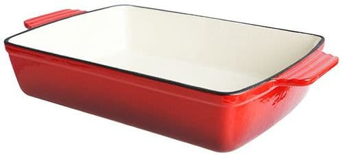 Red Cast Iron Rectangular Dish - 2ltr