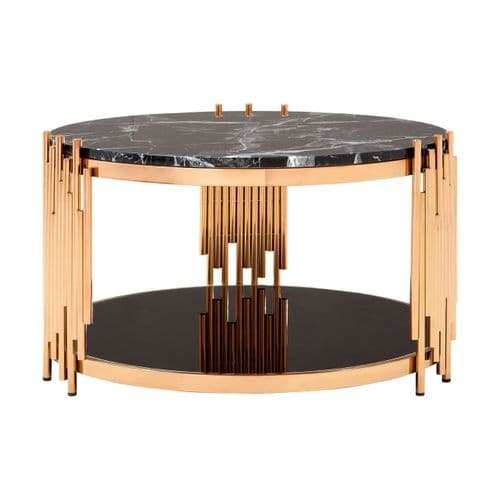 Rosenthal Rose Gold & Black Marble Coffee Table