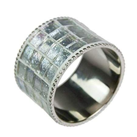 Round Coloured Glass Silver Napkin Ring - 4 Pieces