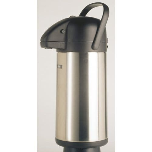 SATIN Stainless Steel GLASS LINED Airpot - Push Button 2.5L