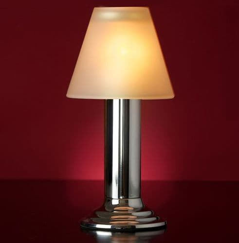 Silver Lamp Stand With Frosted Glass Shade
