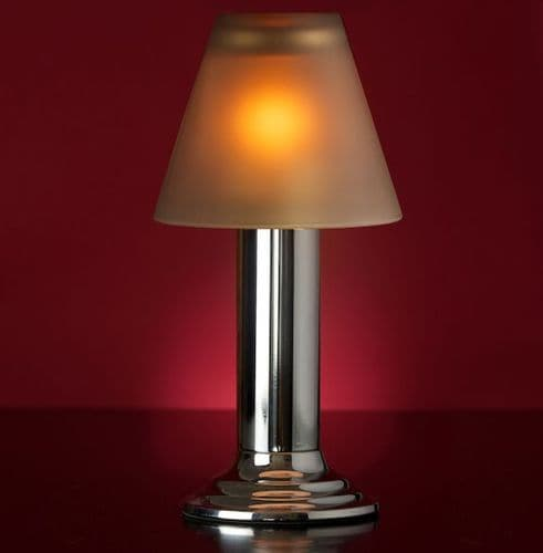 Silver Lamp Stand With Grey Glass Shade