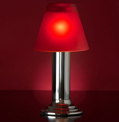 Silver Lamp Stand With Red Glass Shade