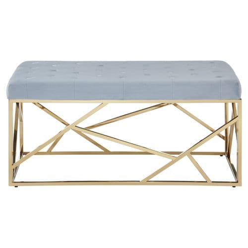 Smithson Geo Gold & Blue Velvet Bench