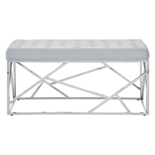 Smithson Geo Silver & Powder Blue Velvet Bench