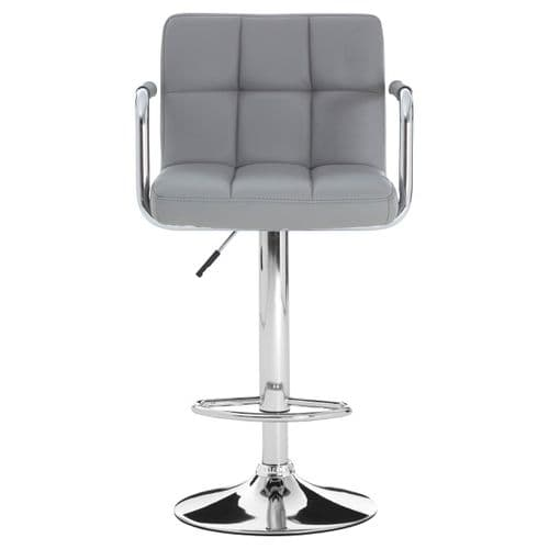 Square Padded Grey Leather Bar Chair & Armrest