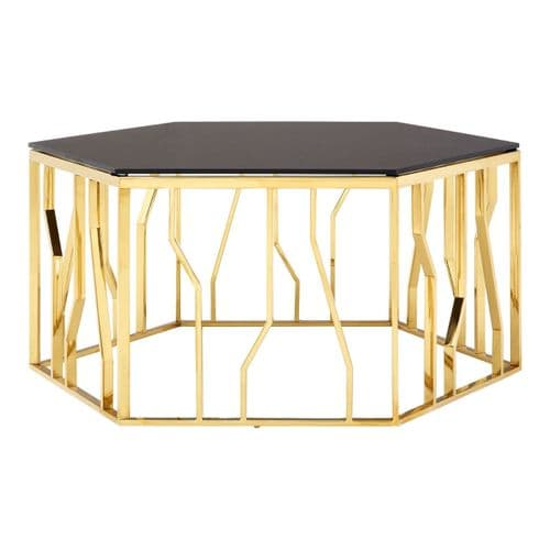 Stirling Hexagon Gold & Black Glass Coffee Table