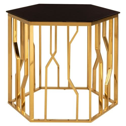 Stirling Hexagon Gold & Black Glass Side Table