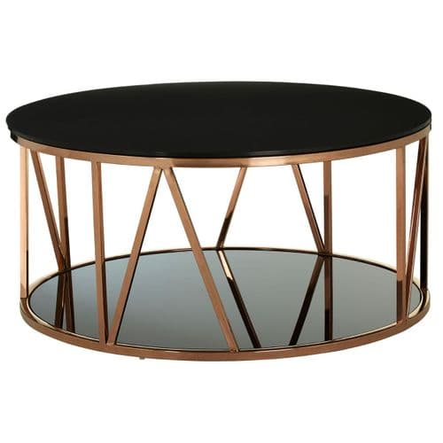 Stirling Rose Gold & Black Round Glass Coffee Table