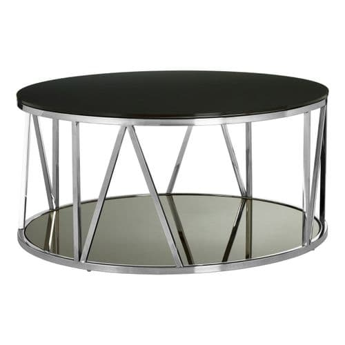 Stirling Silver & Black Round Glass Coffee Table