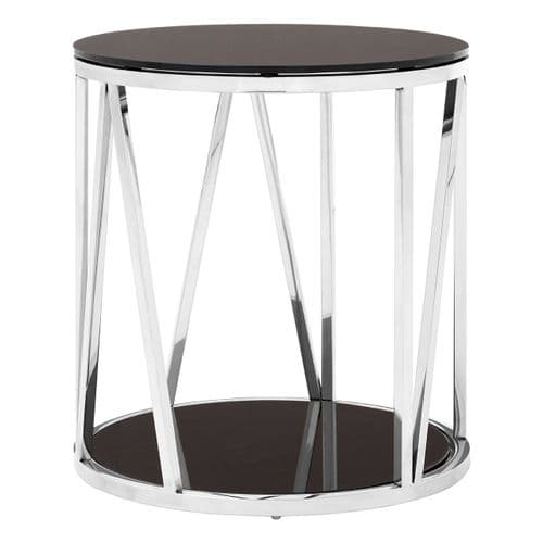 Stirling Silver & Black Round Glass Side Table