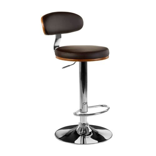 Upholstered Padded Brown Leather Bar Chair
