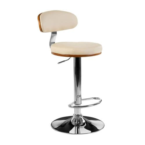 Upholstered Padded Cream Leather Bar Chair