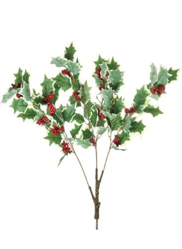 Variegated Holly & Berry Artificial Tree Branch - 2 Pieces