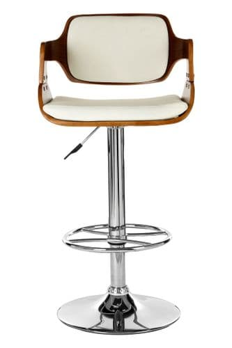 Walnut & White Leather Padded Bar Chair With Armrest