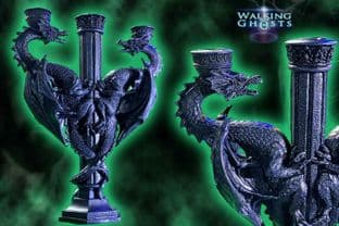 Double Dragon Candelabra Stick Candle Holder Gothic  Altar