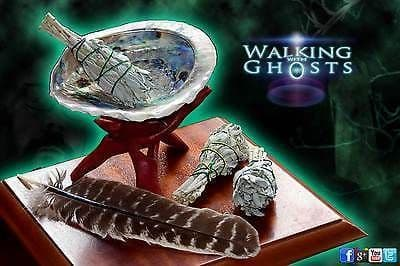 Full Smudging Set, Sage Smudge sticks Abalone Shell stand & feather Paranormal UK