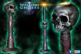 Gothic Skull Candle Stick Holder Goth Vampire Altar Magick Wicca