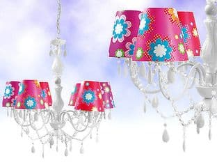 Large White 6 Arm Gypsy Chandelier With Funky Bright Shades/Electric Fitting /UK