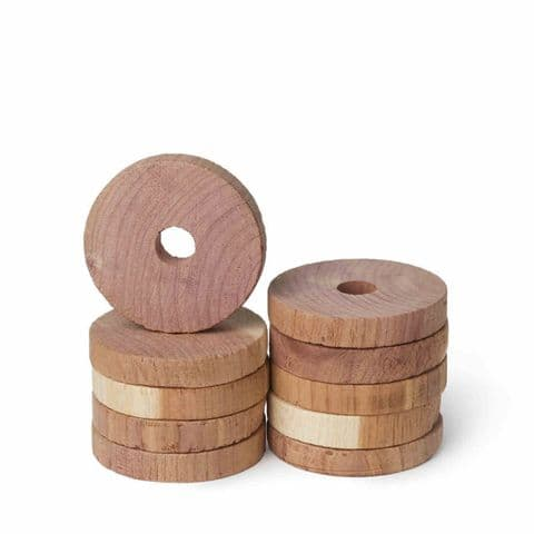 10 Cedar Clothes Hanger Disks Blocks Rings