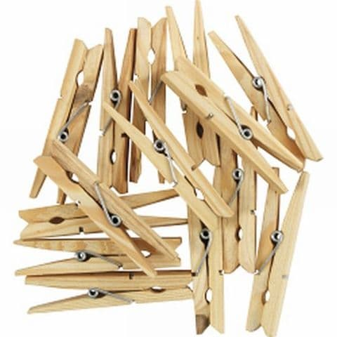 24 Large 9cm Rot Proof Hardwood Wooden Clothes Pegs