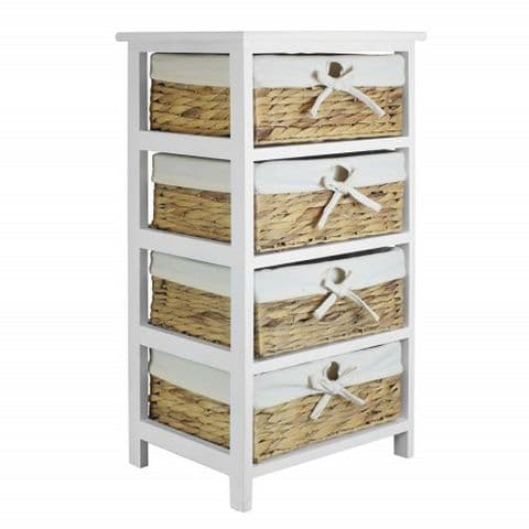 White 4 Basket Drawer Storage Unit H 73 x W 43cm