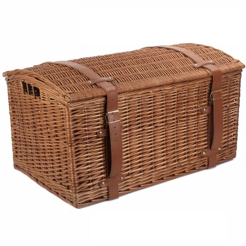 Cotswolds Large Steamed Domed Wicker & Real Leather Trunk